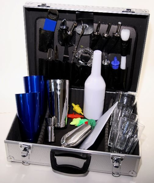 Barmanský kufr - modrý metal
