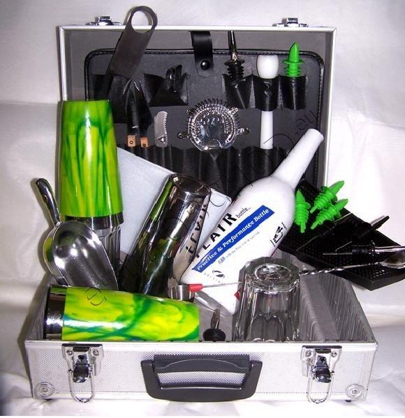Barmanský kufr - vinyl zelenožlutý UV