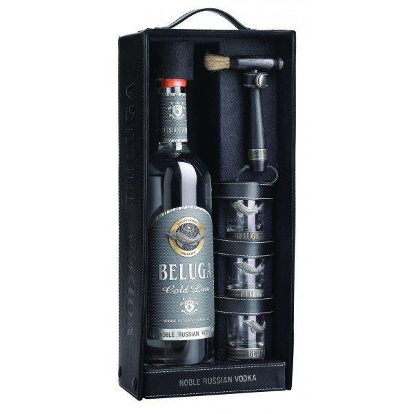 Vodka Beluga Gold Line kožené pouzdro 0,7l 40% + 3x sklo