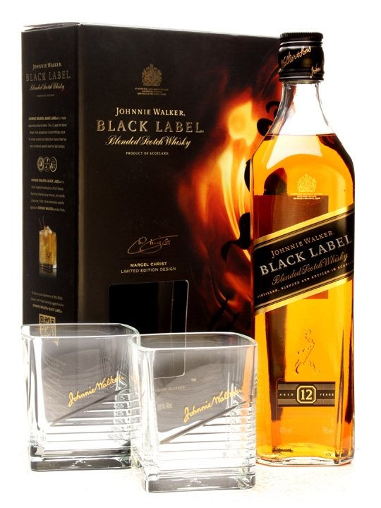 Johnnie Walker Black Label 12y 0,7l 43% + 2x sklo