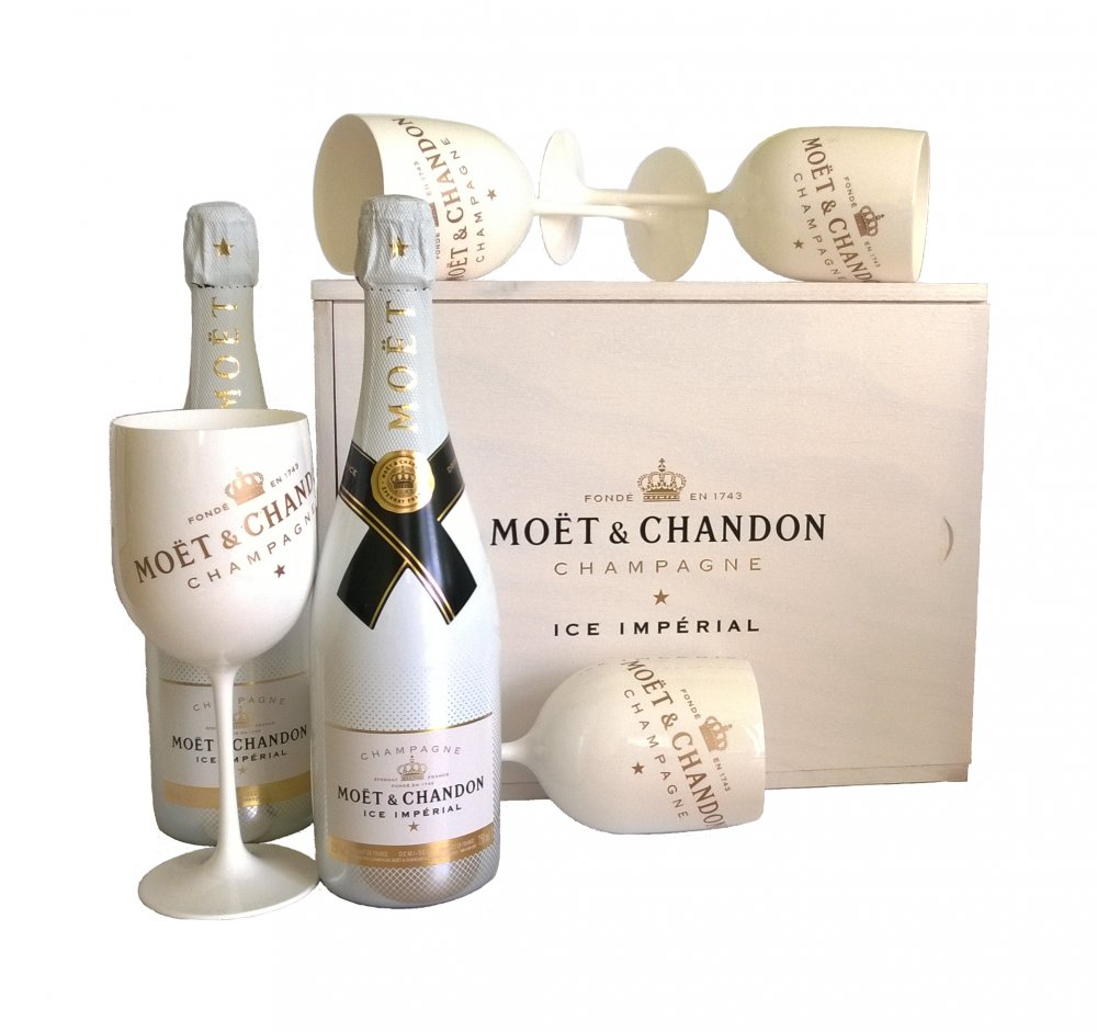 Moët & Chandon ICE Impérial Wooden Box se skleničkami 2x 0,75l