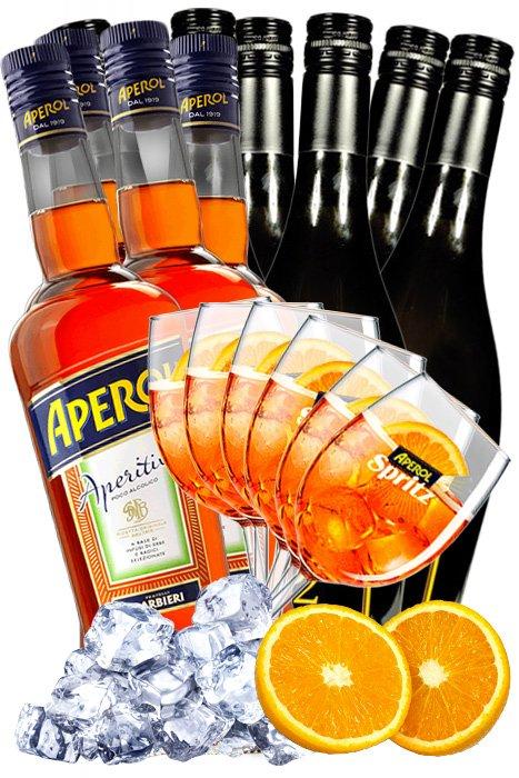 Akce 4x Aperol + 8x Prosecco 321 + 6x Sklo + 5 kg Ledu + Pomeranče 8,8l 11%
