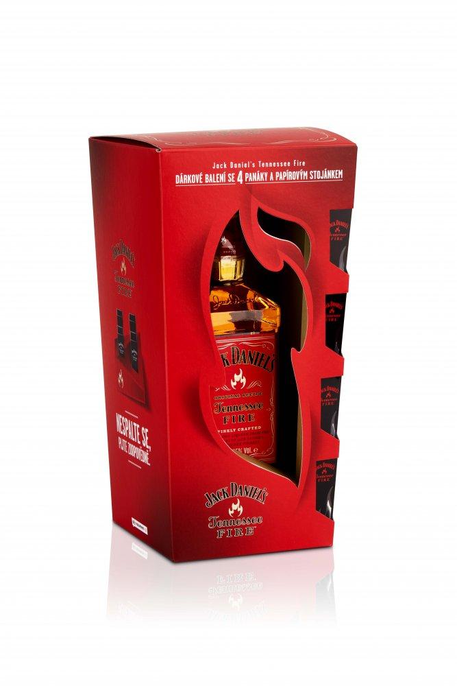 Jack Daniel's Fire 0,7l 35% + 4x sklo GB
