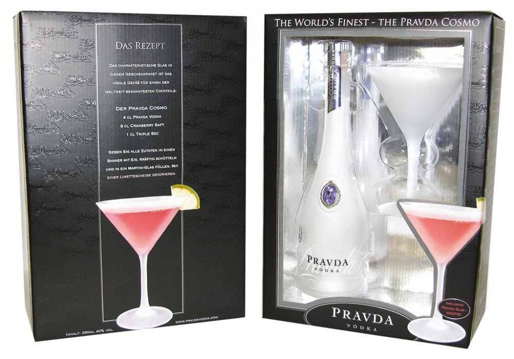 Pravda Vodka 0,35l 40% + 1x sklo GB