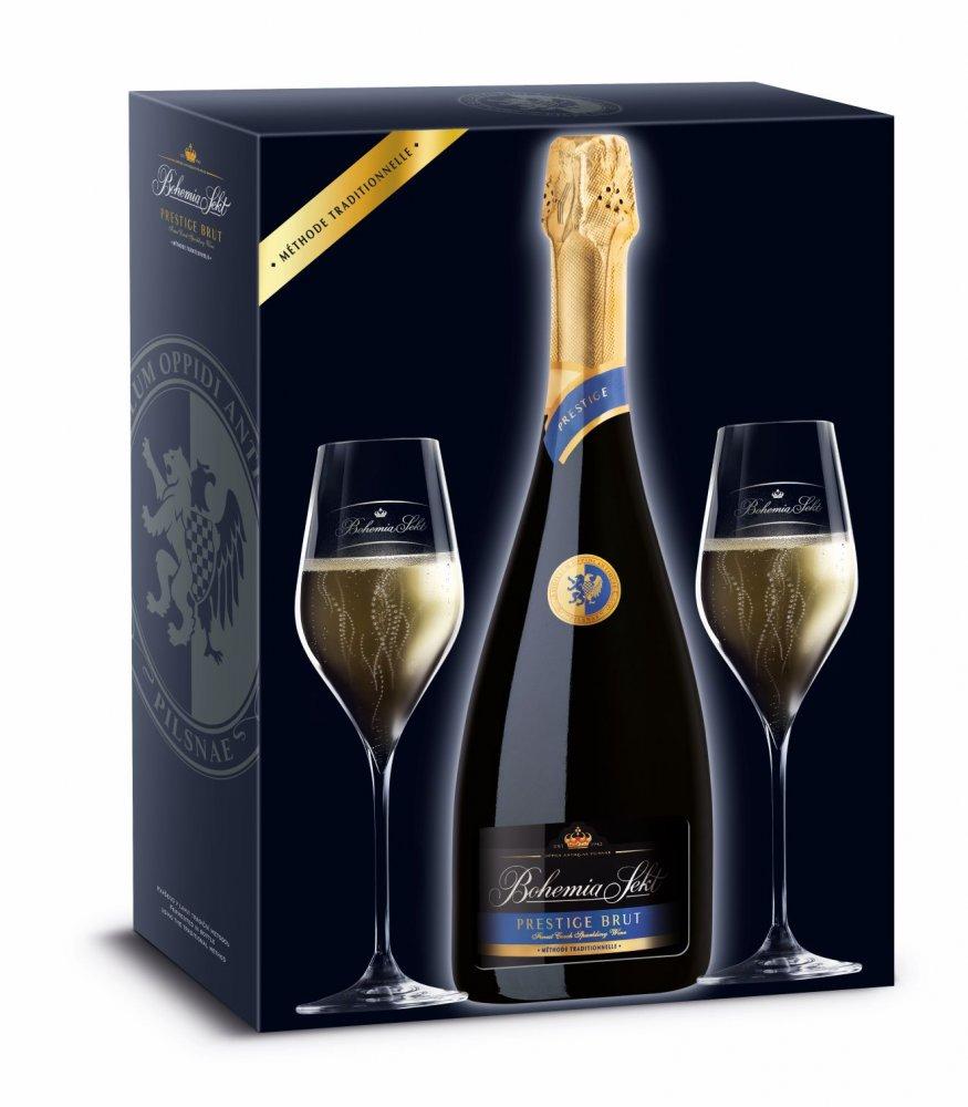 Bohemia Sekt Prestige Brut Jakostní šumivé víno bílé 0,75l 12,5% + 2x sklo GB