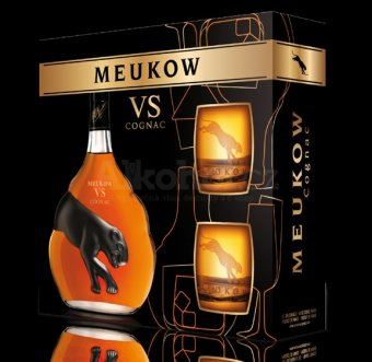 Meukow VS 0,7l 40% + 2x sklo GB