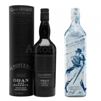 Aukce Johnnie Walker White Walker 41,7% & The Night's Watch – Oban Bay Reserve 43% 2×0,7l