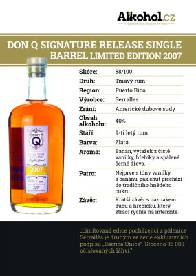 Don Q Signature Release Single Barrel Limited Edition 9y 2007 0,04l 40% L.E.