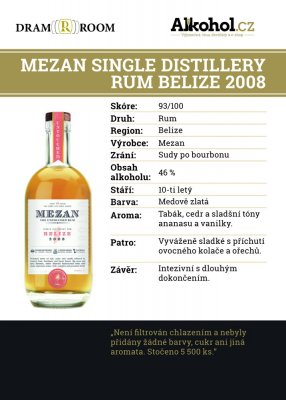 Mezan Single Distillery Belize 10y 2008 0,04l 46%