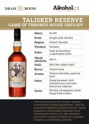 Game of Thrones House Greyjoy – Talisker Reserve 0,04l 45,8%