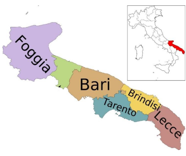 Mapa italské Apulie (La Puglia)